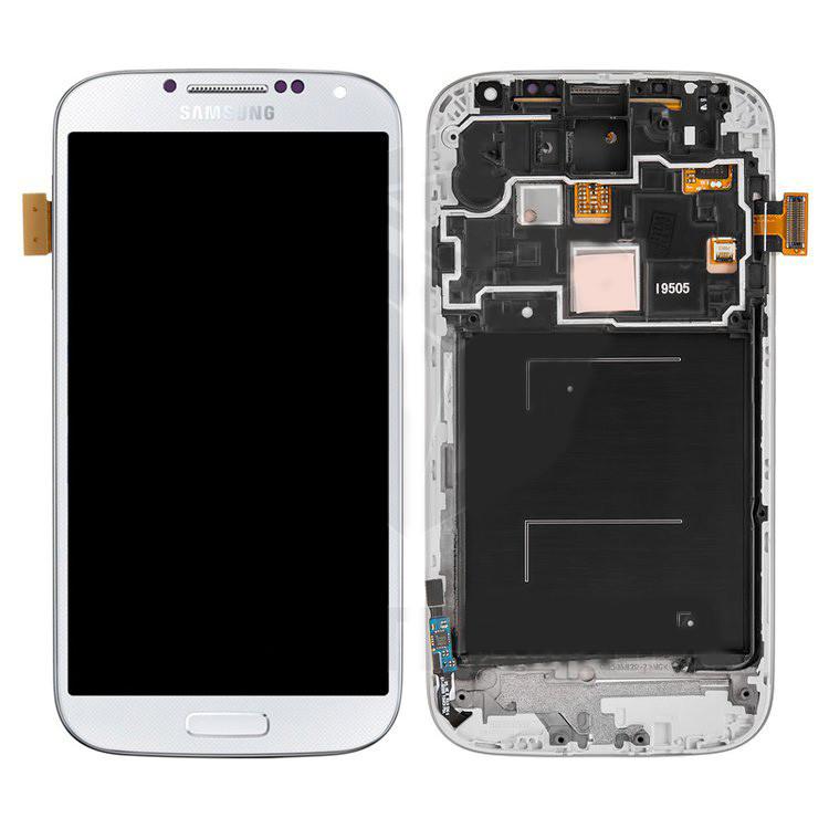 Дисплейный модуль (дисплей и сенсор) для Samsung I9505 Galaxy S4, белый, с передней панелью, оригинал