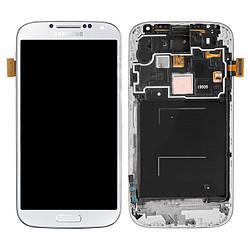 Дисплей Samsung I9505 Galaxy S4, белый, с сенсорным экраном, с передней панелью, оригинал (переклеено стекло)