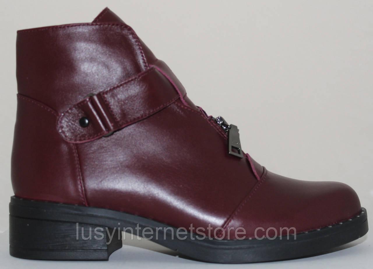 Ботинки женские кожаные демисезонные на низком каблуке от производителя модель СВ3703