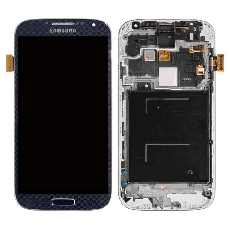 Дисплей Samsung I9505 Galaxy S4, синий, с сенсорным экраном, с передней панелью, оригинал (переклеено стекло)