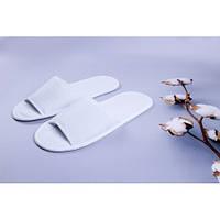 Одноразовые махровые тапочки для отелей Luxyart, белый, открытые, в упаковке 100 шт (ZF-034)
