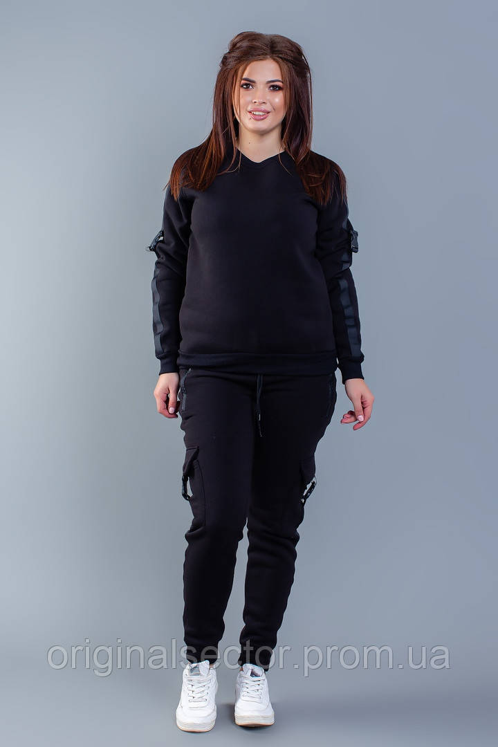 Черный спортивный костюм с начесом