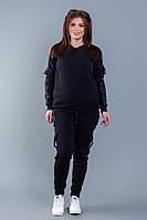 Черный спортивный костюм с начесом, фото 1