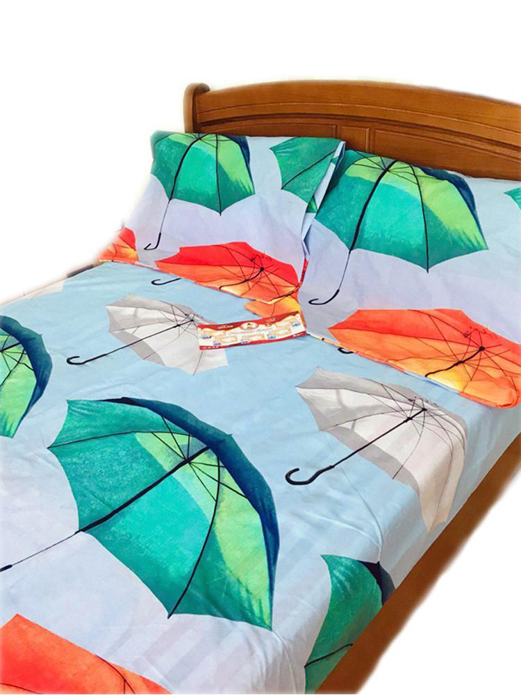 """Двуспальный комплект постельного белья """"Красочные зонтики"""" из полисатина"""