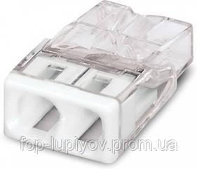 Клемма COMPACT для расприд коробок 2X2,5, проз/белая с пастой, WAGO
