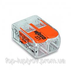 Клемма 2-конт д/расприд коробок, универсальная, 0,2-4 мм2, проз, WAGO