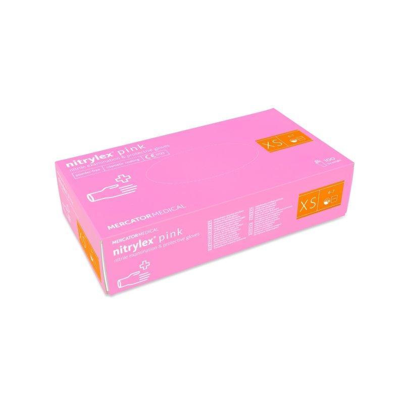 Перчатки нитриловые Nitrylex Pink ХS нестерильные неопудренные (50 пар/уп) розовые