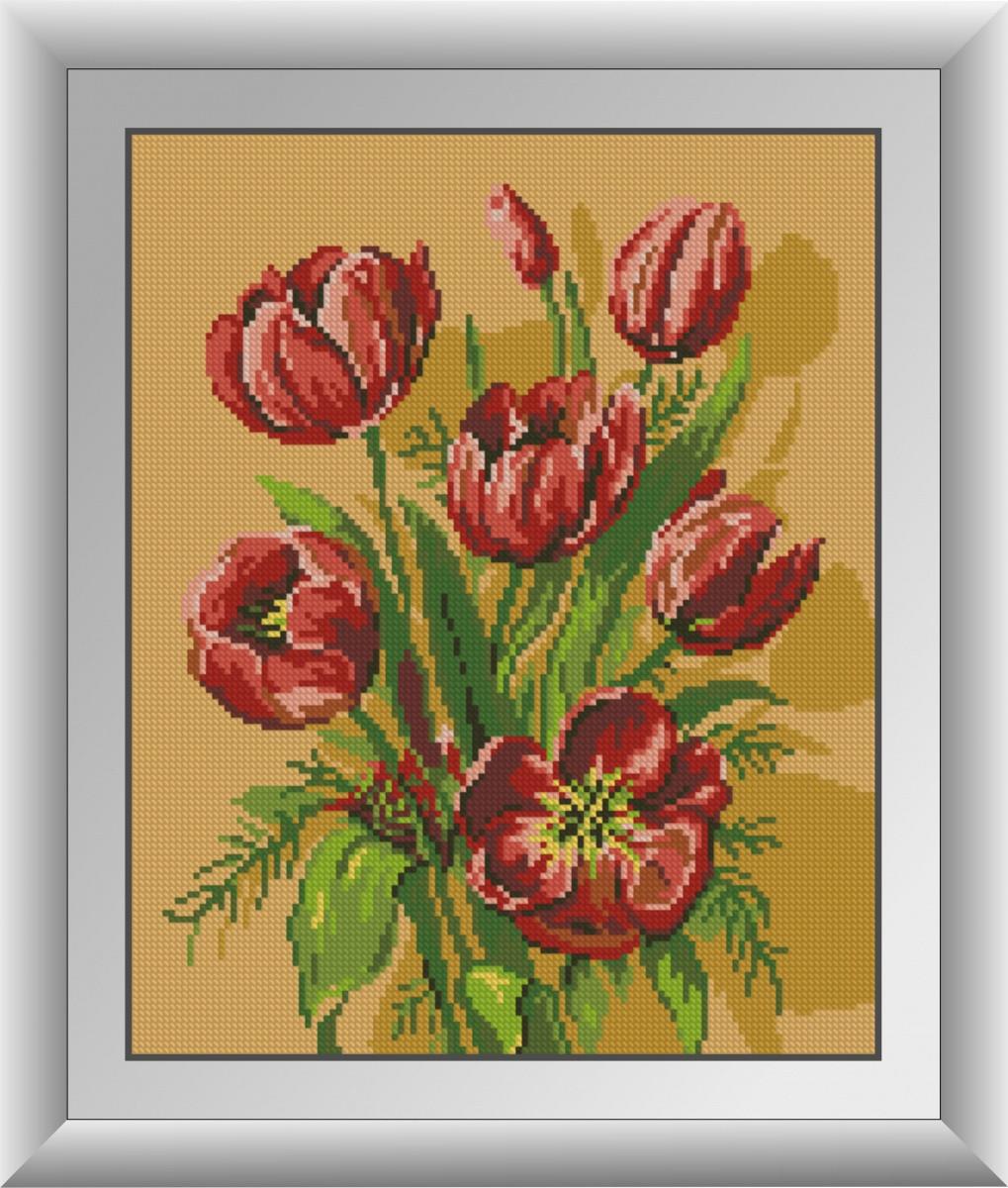 Алмазная живопись Красные тюльпаны Dream Art 30885 (30 x 37 см)