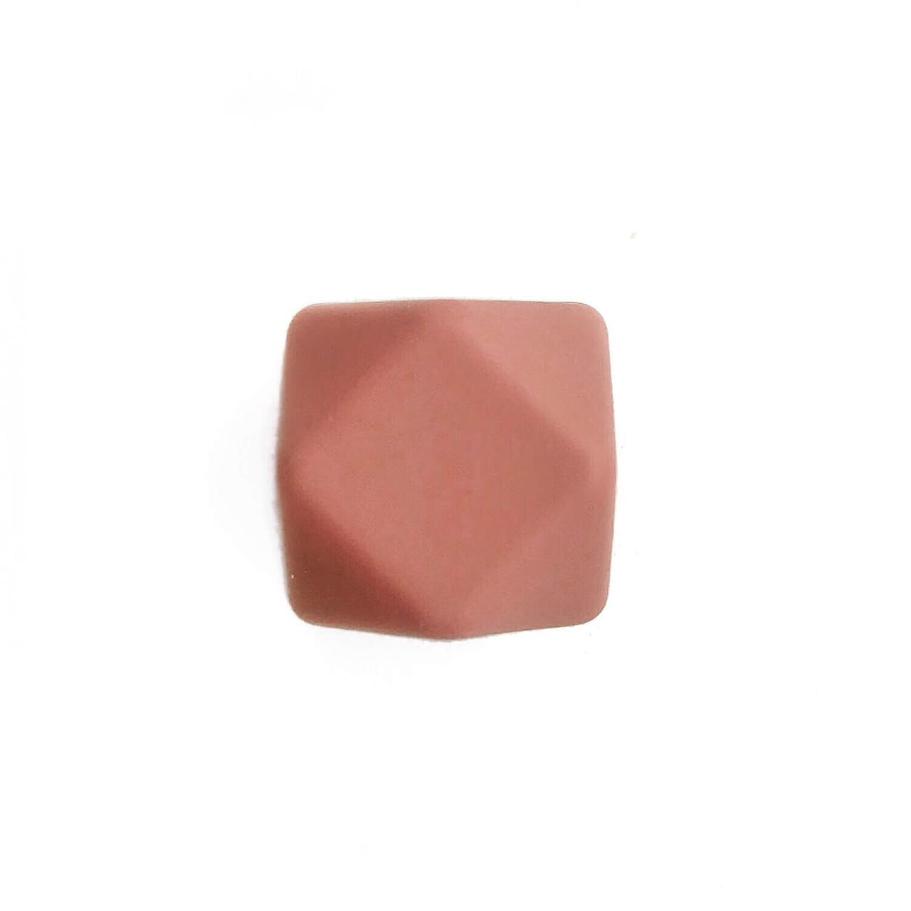 Гексагон 17мм (каштан), силиконовые бусины