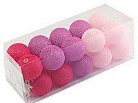 Гирлянда Тайские Шарики  Cotton Balls 20led, диам 6см, длина 350см на батарейках АА - 3шт.
