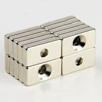 Неодимовый магнит прямоугольный с отверстием для потайного винта25х12х3 отверстие D7/3,5мм