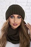 Женский вязаный комплект: шапка с подворотом и шарф-хомут (в расцветках), фото 3