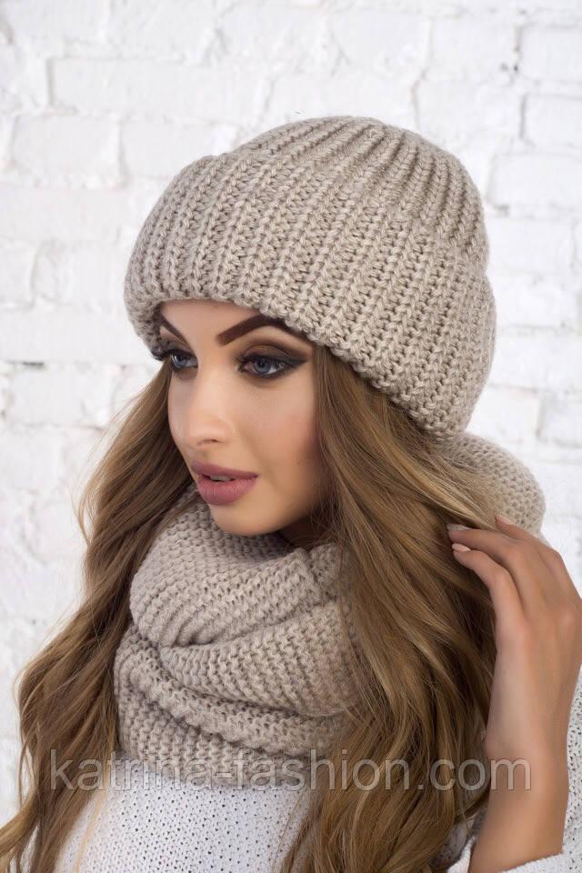 Женский вязаный комплект: шапка с подворотом и шарф-хомут (в расцветках)