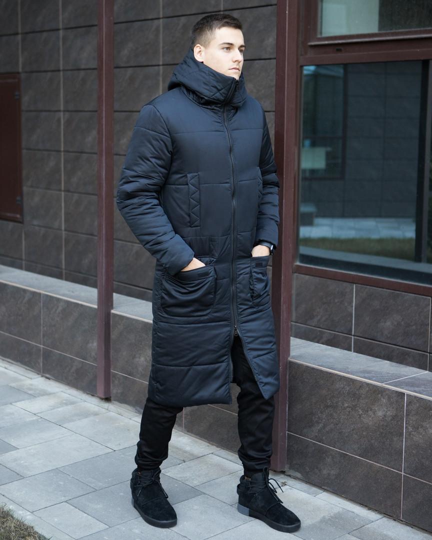 """Темно-синее мужской зимнее пальто """"Танк"""" очень теплое и не промокаемое"""