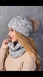 """Женский вязаный комплект """"Коса"""" с натуральным меховым помпоном: шапка и шарф-хомут (в расцветках), фото 4"""