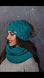 """Женский вязаный комплект """"Коса"""" с натуральным меховым помпоном: шапка и шарф-хомут (в расцветках), фото 6"""