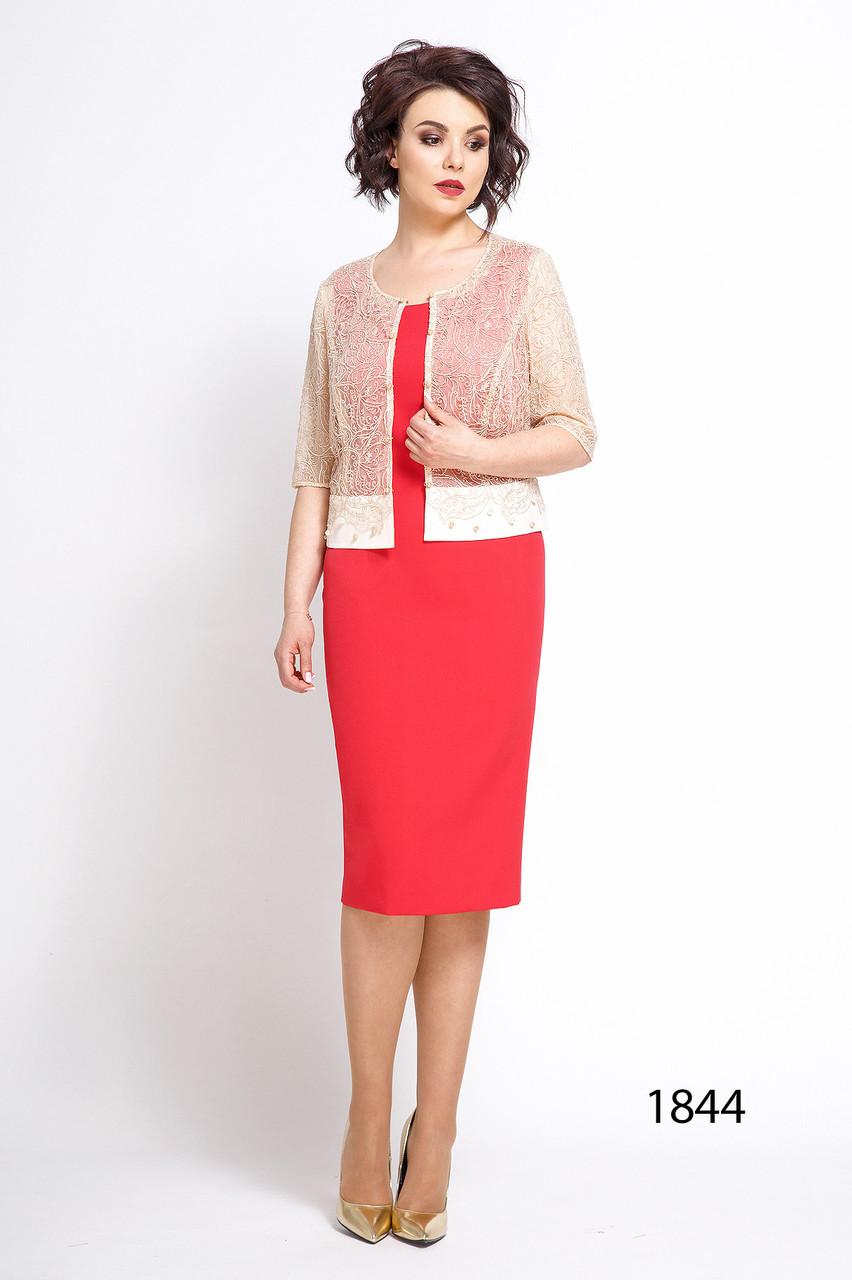 Платье-двойка женское Беларусь модель ДЖ-1844-18 коралл