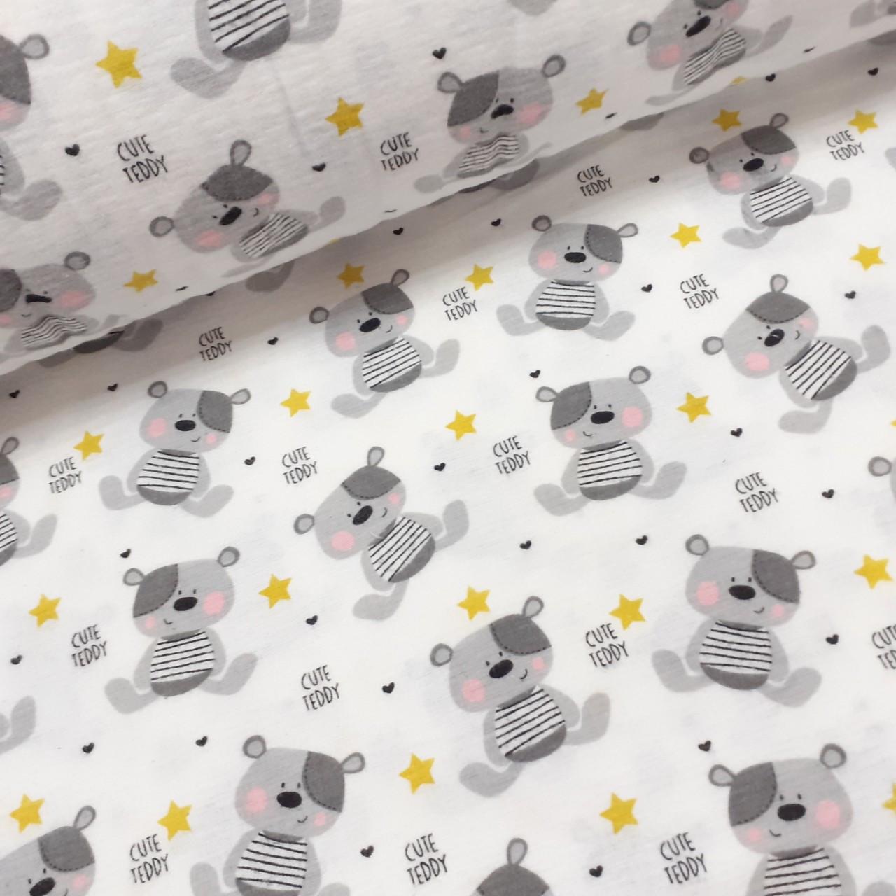 Фланелевая ткань серые мишки Тэдди с желтыми звездами на белом