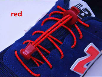 Красные светоотражающие эластичные шнурки для обуви. Усиленные резиновые эластичные шнурки для всех.