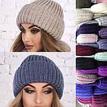 Женский вязаный комплект: шапка с подворотом и шарф-хомут (в расцветках), фото 7