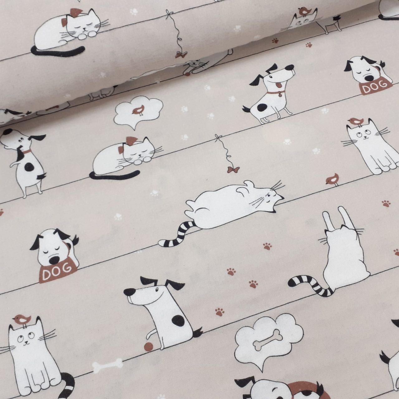 Фланелевая ткань белые котики и собачки на бежевом