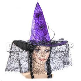 Капелюх Відьми з вуаллю, Хелловін, фіолетовий, Колпак Ведьмы с вуалью