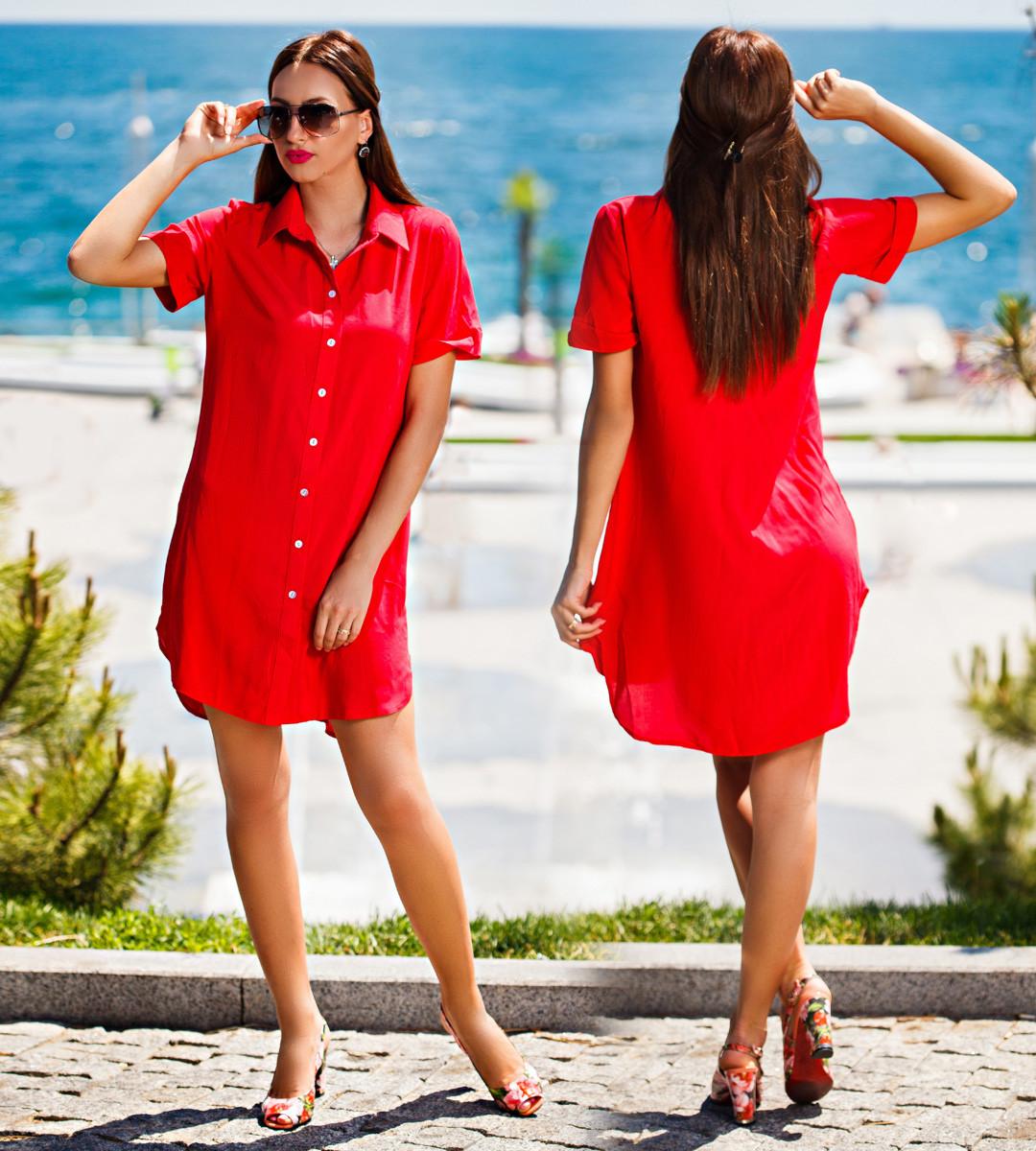 """Летняя женская стильная туника-рубашка 255 """"Штапель Воротничок"""" в расцветках"""