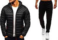 ХИТ! Куртка демисезонная + штаны + СКИДКА! Комплект мужской повседневный черный