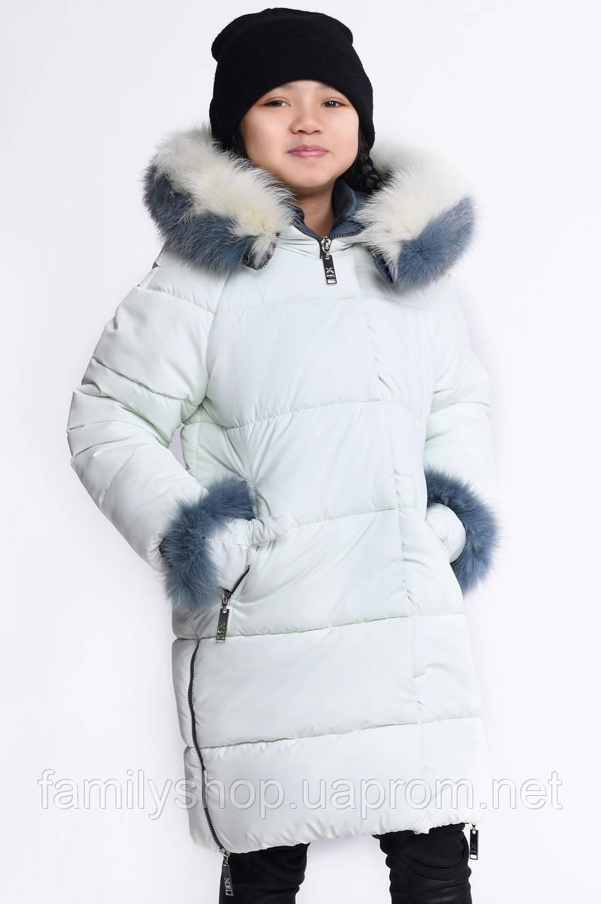 Теплое зимнее детское пальто с капюшоном и рукавичками