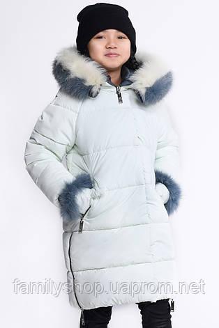Теплое зимнее детское пальто с капюшоном и рукавичками, фото 2
