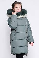 Теплое зимнее детское пальто с капюшоном и рукавичками, фото 3
