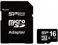 Карта пам'яті SiliconPower microSDHC 16GB (Class 10)+SD adap