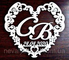 Фамильный Герб в Сердце с Датой Белый 50х45см Свадебные Инициалы, деревянная монограмма, семейный на свадьбу
