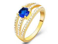 Позолоченное кольцо женское с синим цирконом код 744 р 18