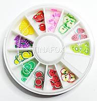 Фимо фигурки для декора ногтей в карусельке фрукты