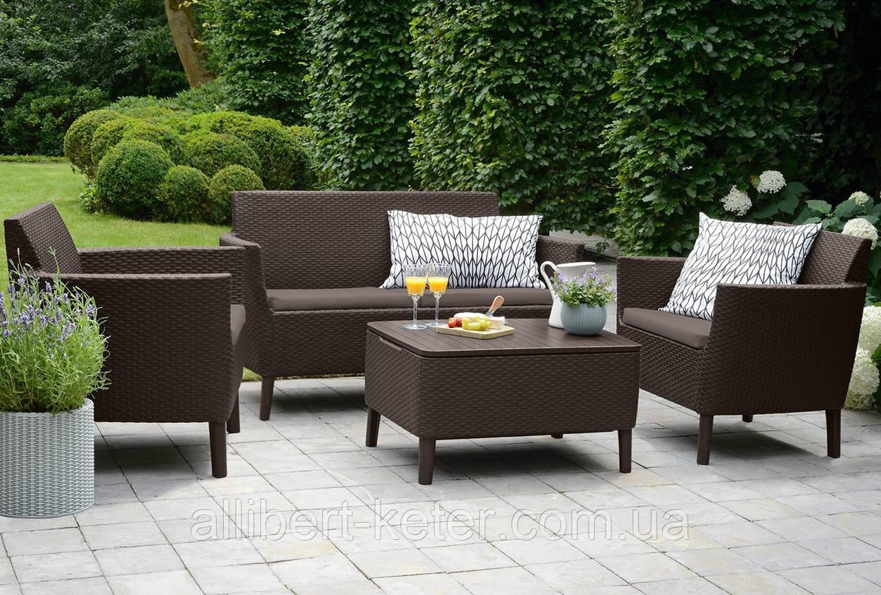Набор садовой мебели Salemo Set Brown ( коричневый ) из искусственного ротанга