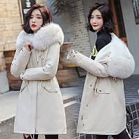 Женское меховое пальто парка большой меховой капюшон белый, розовый, голубой, черный, зеленый, (NORI - 001)