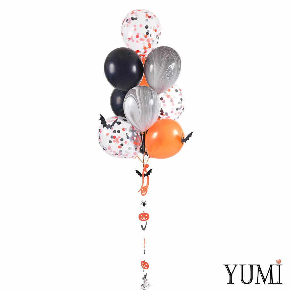 Связка на Halloween: 10 шариков с декором Летучие мыши и гирлянда Тыквы-пауки-летучие мыши