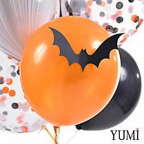 Связка на Halloween: 10 шариков с декором Летучие мыши и гирлянда Тыквы-пауки-летучие мыши, фото 3