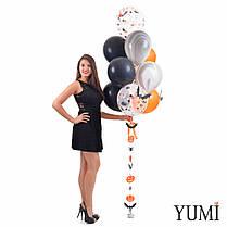 Связка на Halloween: 10 шариков с декором Летучие мыши и гирлянда Тыквы-пауки-летучие мыши, фото 2