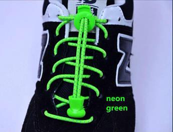 Зеленые светоотражающие эластичные шнурки для обуви. Усиленные резиновые эластичные шнурки для всех.