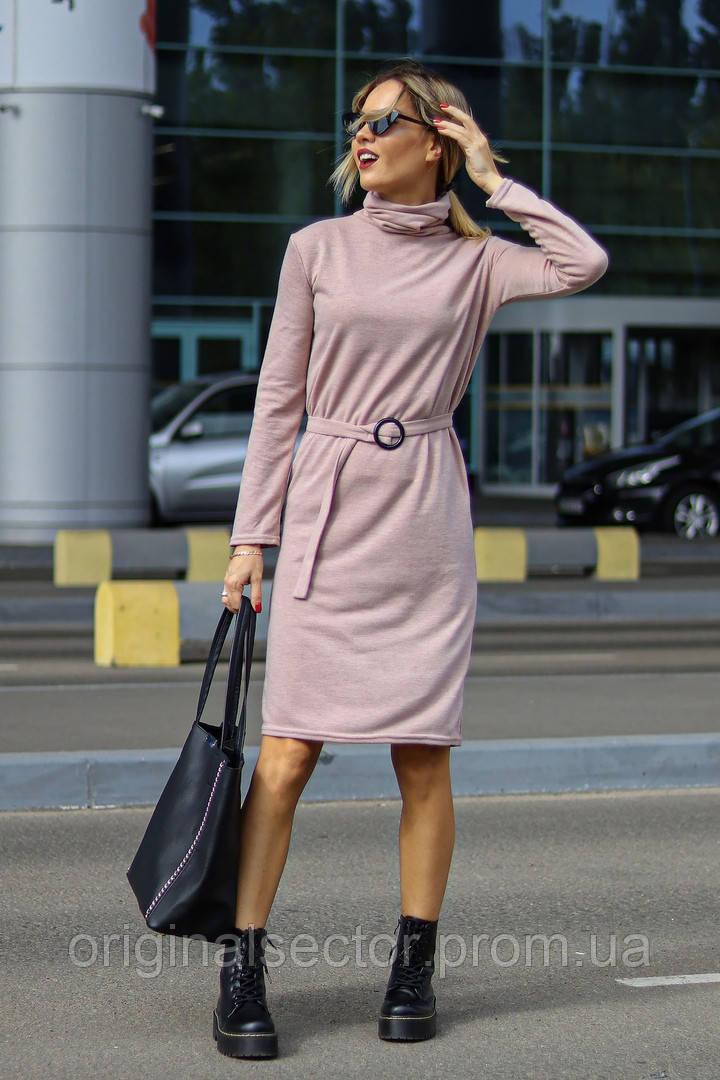 Теплое платье-водолазка с поясом, фото 1