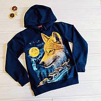✅Кофта с капюшоном для мальчика с принтом волка Принт светится в темноте  128 134 140 146 152