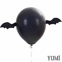 Оформление на Halloween: 5 черных шаров с декором Крылья летучей мыши и 5 оранжевых шаров Тыквы, фото 3