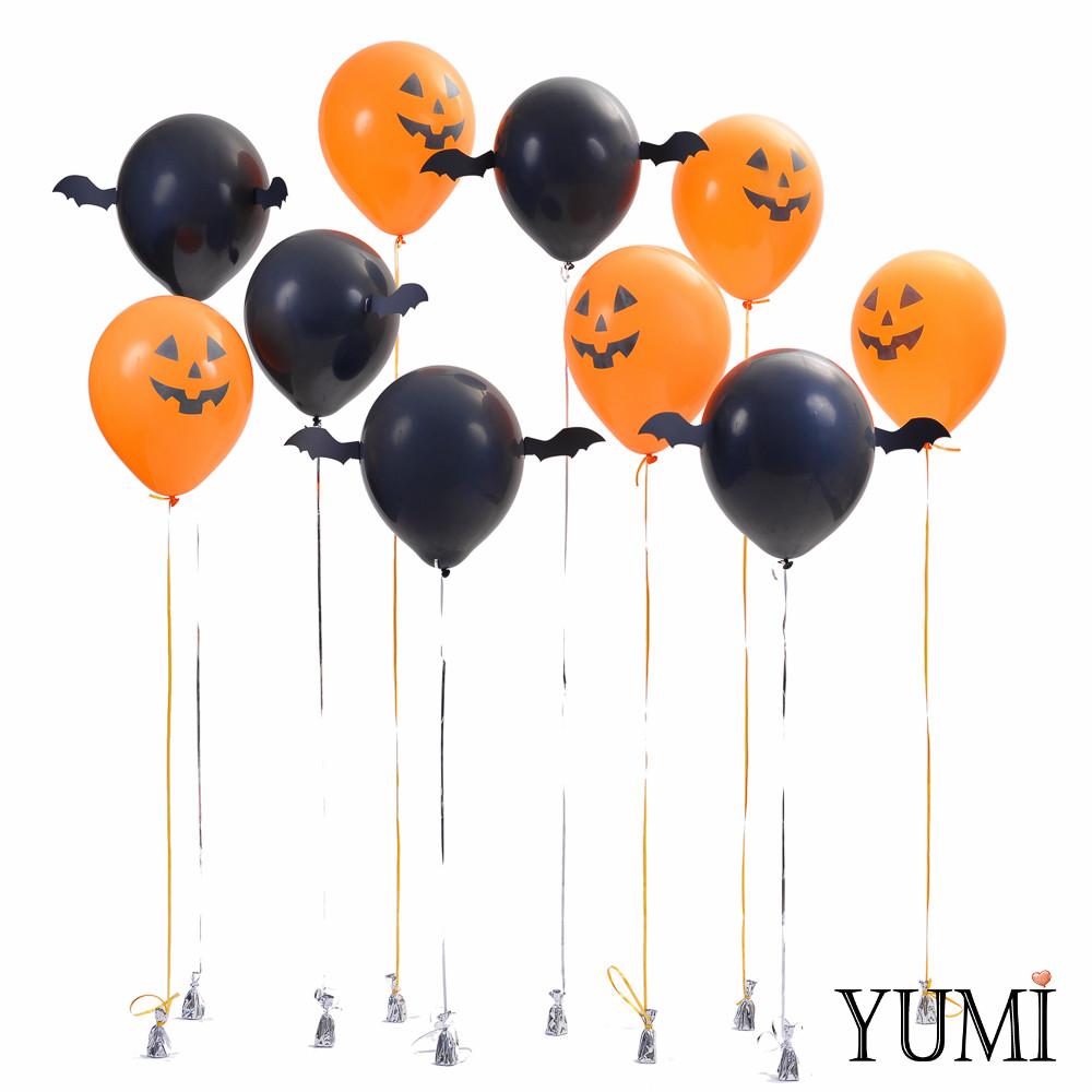 Оформление на Halloween: 5 черных шаров с декором Крылья летучей мыши и 5 оранжевых шаров Тыквы