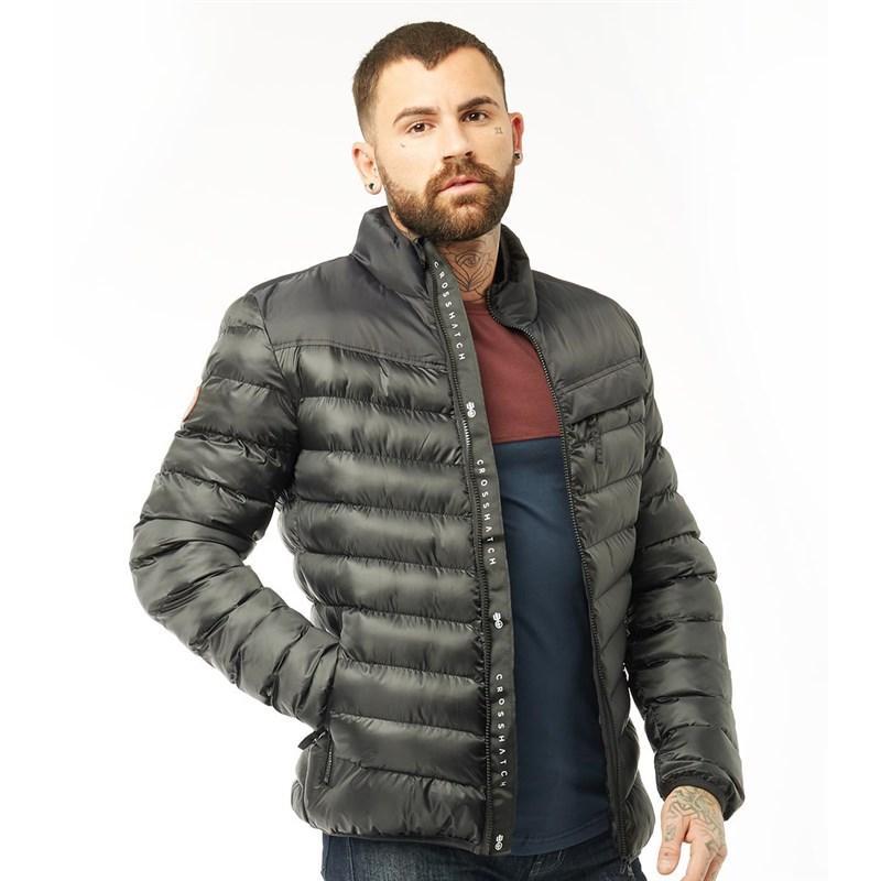Мужская стеганая куртка Crosshatch Chankford Quilted Jacket черная оригинал