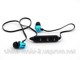 Sports headset беспроводные наушники косые с Bluetooth, голубые, фото 3