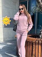 """Костюм вязаный под горло """"Хинза"""" р. 42-48 (универсальный) розовый, фото 1"""