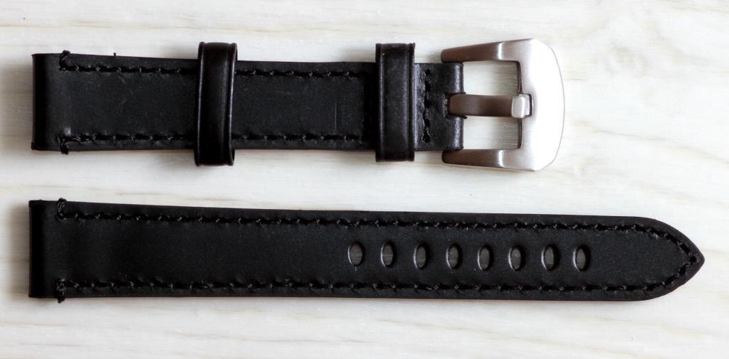 Ремешок для часов BROS (ИТАЛИЯ) из натуральной кожи. Черного цвета 18 мм