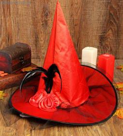 Капелюх Відьми з вуаллю та пір'ям, Хелловін, червоний, Колпак Ведьмы с вуалью